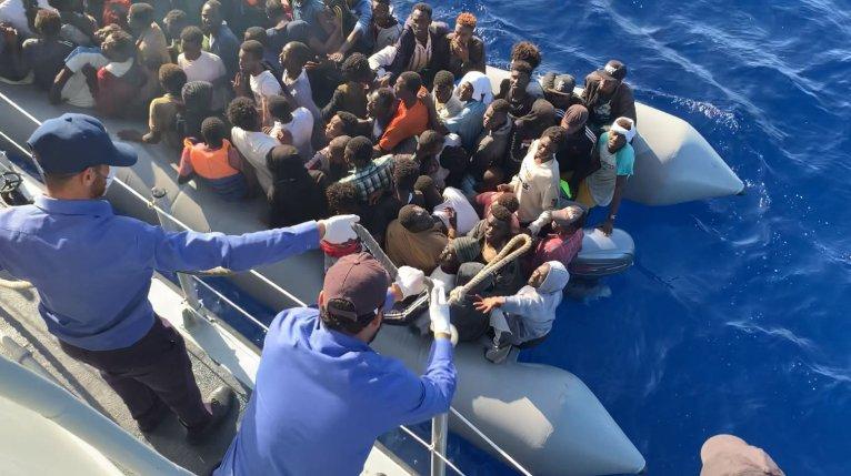 Des garde-côtes libyens en novembre 2019. Crédit : France 24 / InfoMigrants (archives)