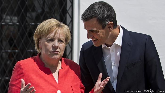 Angela Merkel with Pedro Sanchez