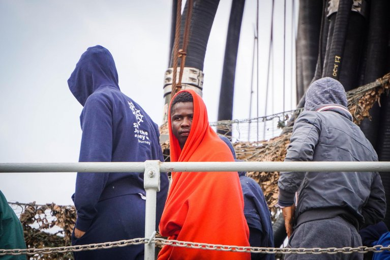 Migrants arriving in Salerno, Italy, after being rescued | Credit: ANSA/CESARE ABBATE