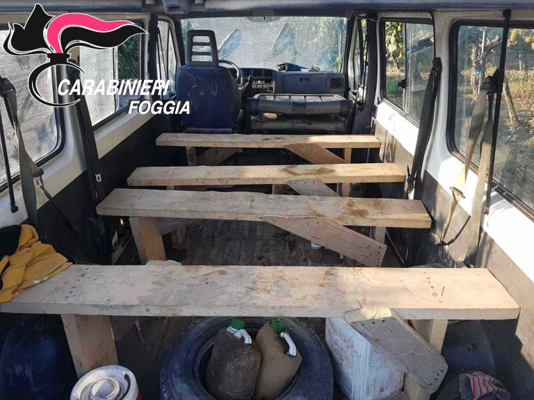 One of the vans used to transport migrants to work in the fields and hired by bosses linked to organized crime groups.PHOTO/CARABINIERI