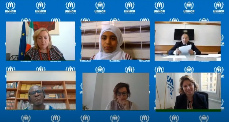 Above center, Douaa Alkoka during the virtual press conference in Italy of the presentation of the UNHCR report Global Trends | Photo: ANSA/UNHCR