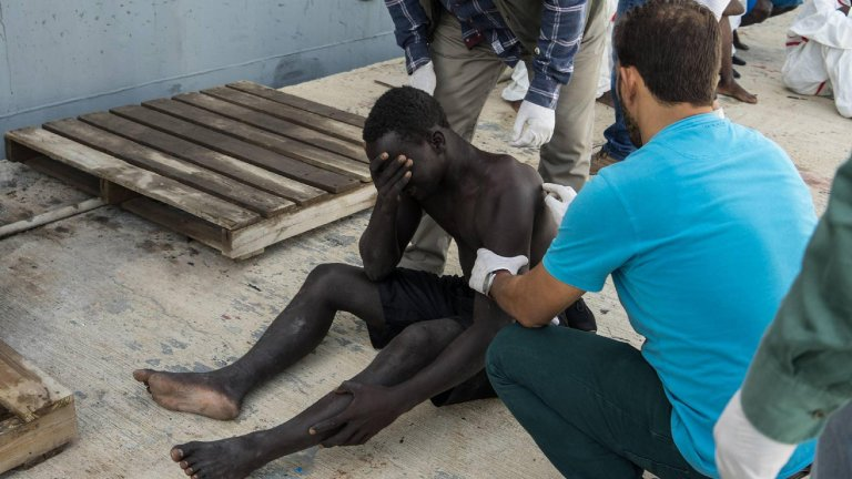 A migrant is assisted in one of the detention centers near Tripoli |PHOTO:ANSA/Archive/Zuhair Abusrewil.