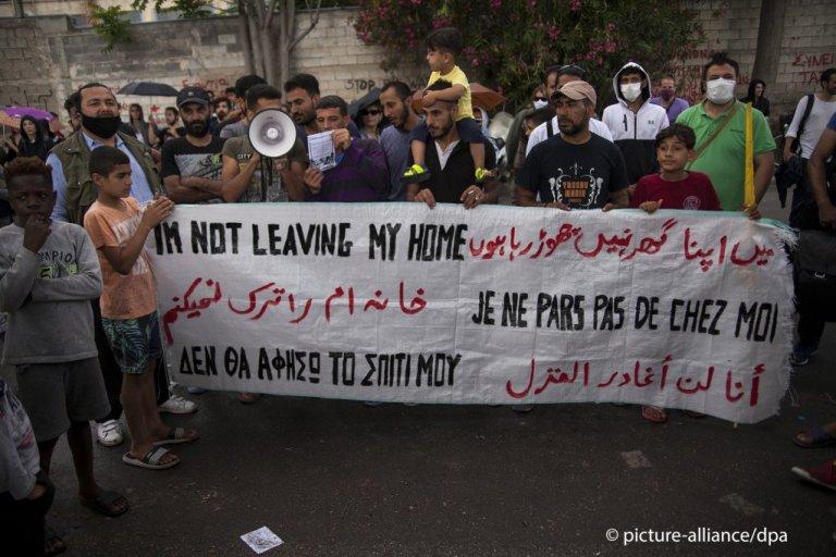 Des réfugiés manifestent contre les évictions en Grèce, 1er juin | Photo: picture-alliance/dpa