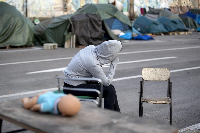"""Migrants in the tent camp known as """"Baobab Camp"""" near the Tiburtina railway station in Rome, later cleared. Italy, 20 February 2018 
