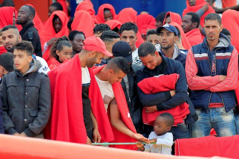 Migrants rescued by Spanish Maritime Rescue Services at the port of Algeciras, southern Spain. A total of three small boats were intercepted and the migrants were rescued and taken ashore. PHOTO/EPA/A.Carrasco Ragel