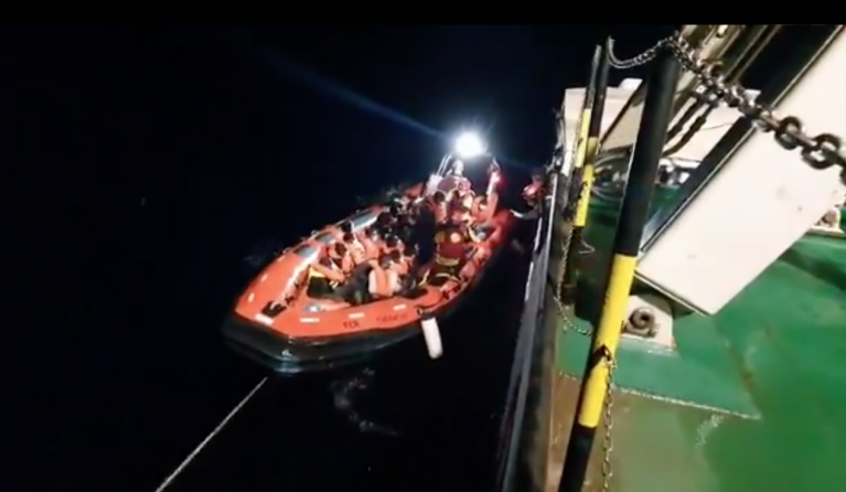 The Spanish-run humanitarian rescue ship Open Arms brought a further 77 migrants on board on Thursday night | Photo: Screenshot from Open Arms video
