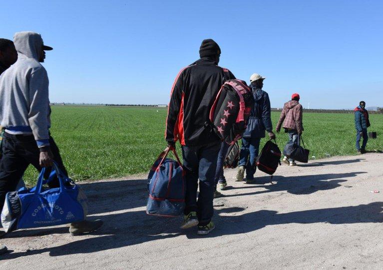 From file: Migrants outside the 'Gran Ghetto' in Foggia   Photo: ARCHIVE/ANSA/ FRANCO CAUTILLO
