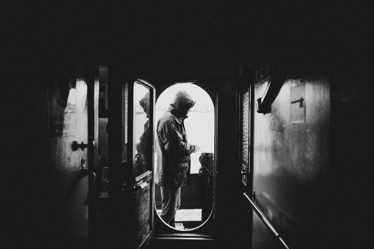 One of the professional sailors on the Mare Jonio ship. Photo: Marta Buso