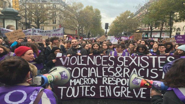 مظاهرة مناهضة للعنف ضد المرأة في العاصمة الفرنسية باريس. المصدر: مهاجر نيوز