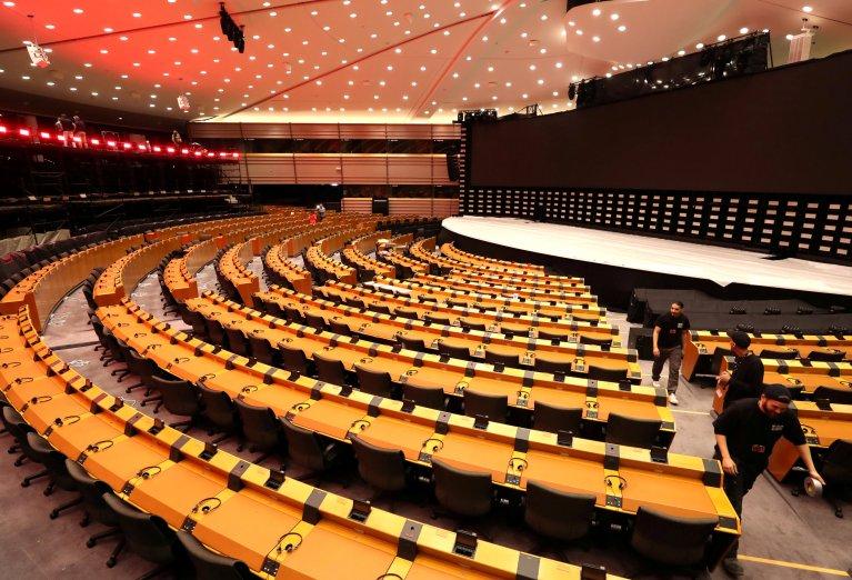 نمای داخلی مقر پارلمان اروپا، ٢٢ می ٢٠١٩. عکس از رویترز/ ایو هرمان