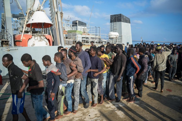 Migrants rescued by the Libyan Coast Guard |Credit: ANSA/ZUHAIR ABUSREWIL
