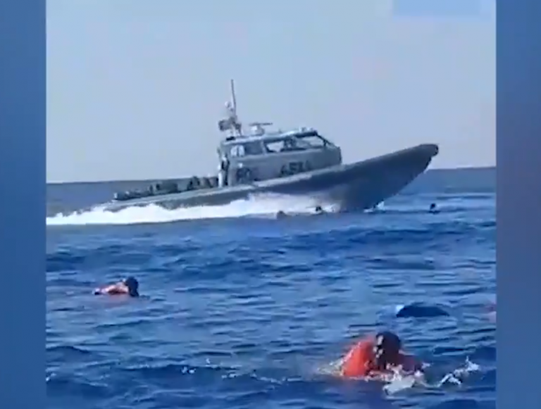 Screenshot of video published by NGO Alarm Phone on Twitter allegedly showing migrants stranded at sea and a Maltese coast guard vessel on April 11, 2020 | Photo: Alarm Phone