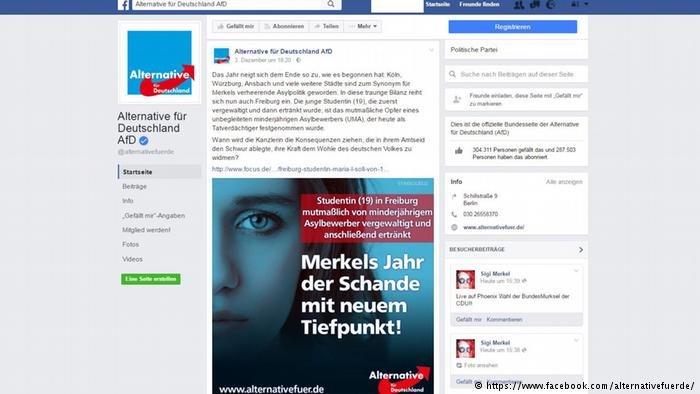 Anti-refugee speak on Facebook (Screenshot of AFD homepage)