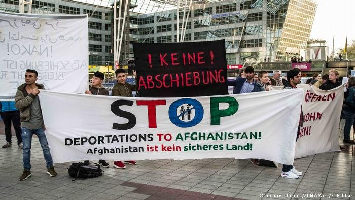 a protest against deportations to Afghanistan at Germany's Munich airport