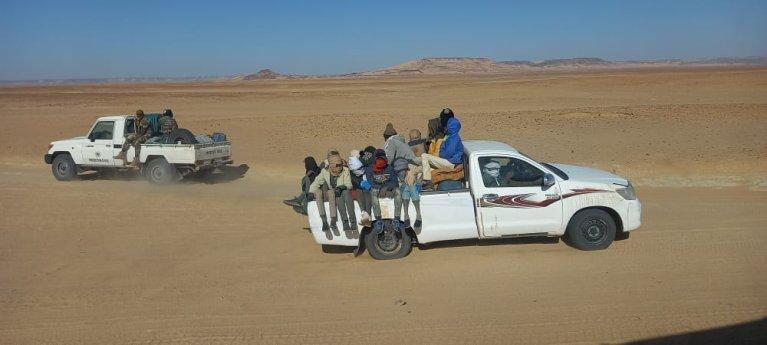 Les migrants sont abandonnés dans le désert par les autorités algériennes. Crédit : OIM