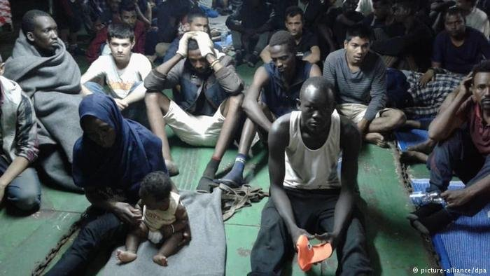 African migrants on a container ship in Misrata, Libya