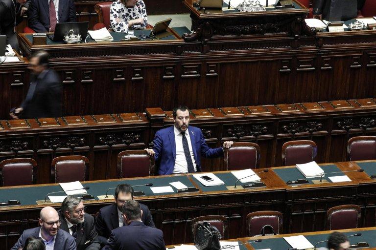 Interior Minister Matteo Salvini during the voting on the security decree. (Photo: ANSA/Giuseppe Lami)