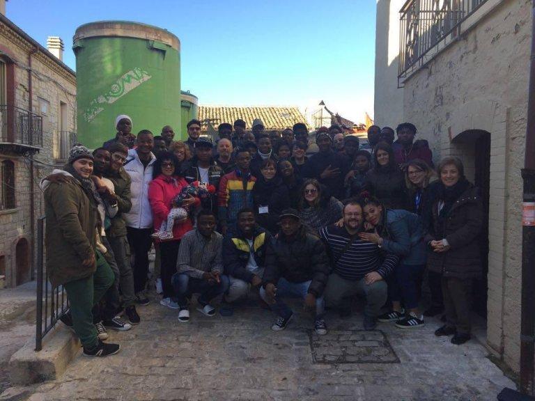 Asylum seekers and inhabitants together in Ripabottoni, Molise, Italy. Photo courtesy of Eghosa James