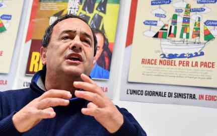 Former Riace mayor Mimmo Lucano curing a press conference on the end of a campaign to collect signatures to candidate the Riace municipality for the Nobel Peace Prize. Credit: ANSA/ETTORE FERRARI