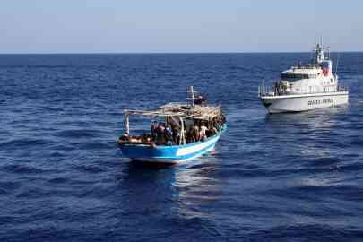 A boat intercepted by the Porto Empedocle financial police in the waters off the Realmonte municipality, after several Tunisians had disembarked from the vessel   Photo: ANSA/ UFFICIO STAMPA GUARDIA FINANZA