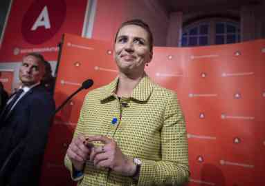 Mette Frederiksen of the Danish Social Democrats addresses her supporters after the election results are released at Christiansborg Castle in Copenhagen, Denmark    Photo: EPA/LISELOTTE SABROE